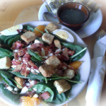 This Months Special Salad: Spinach Salad with Hot Bacon Derssing